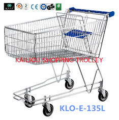 China 4 Wheeled 135L Metal Wire UK Shopping Cart With Baby Seat / Supermarket Equipment supplier