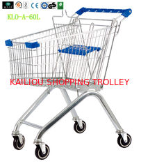 China Small Portable Chrome Plated Steel Shopping Carts 60L / Supermarket Push Cart supplier