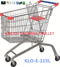 China Large Heavy Duty Supermarket UK Shopping Cart 115L With 4x4 Inch Swivel PU Wheel supplier