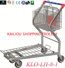 China 2 Tier Folding Warehouse Factory Cargo Trolley With 4 Swivel 5 Inch PU Wheels supplier