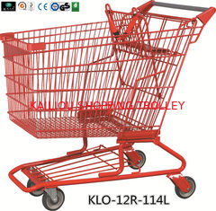 China Red Powder Coating Small Metal Shopping Carts For Seniors / Grocery Shopping Trolley supplier