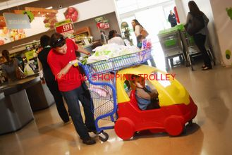 China Funny Plastic Kids Shopping Carts With Metal Frame / Handle And Wheels supplier