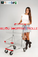 China Two Layer baskets Grocery Shopping Trolley For Ladies With PVC , PU , TPR Wheel CE GS ROSH supplier
