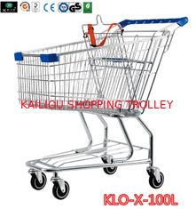 China Portable Metal Rolling Grocery Supermarket Shopping Trolley Carts Zinc Plated supplier