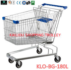 China 180 Liter Large Wire Mesh Supermarket Shopping Cart With Baby Seat supplier