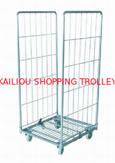 China Movable Retail Shop Equipment Steel Wire Mesh Storage Cage With Wheels supplier