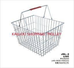 China 28 Liter Storage Supermarket Metal Shopping Basket With Two Red Plastic Handle supplier