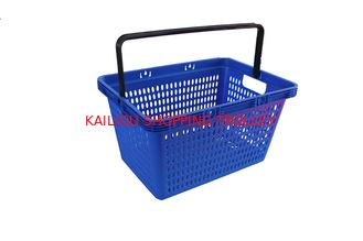 China 28L Blue PP Plastic Shopping Baskets With Handles For Supermarkets / Stores supplier