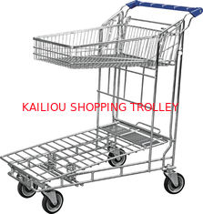 China Two Layer Wire Warehouse Rolling Trolley For Carry Goods With PVC / PU / TPR Wheels supplier