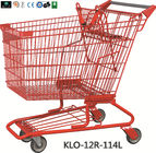 China Red Powder Coating Small Metal Shopping Carts For Seniors / Grocery Shopping Trolley factory