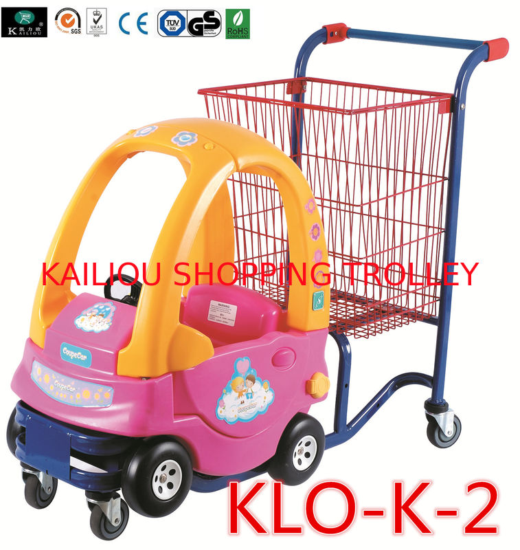 red powder coated pushing kids shopping carts with toy car shopping trolley for kids. Black Bedroom Furniture Sets. Home Design Ideas