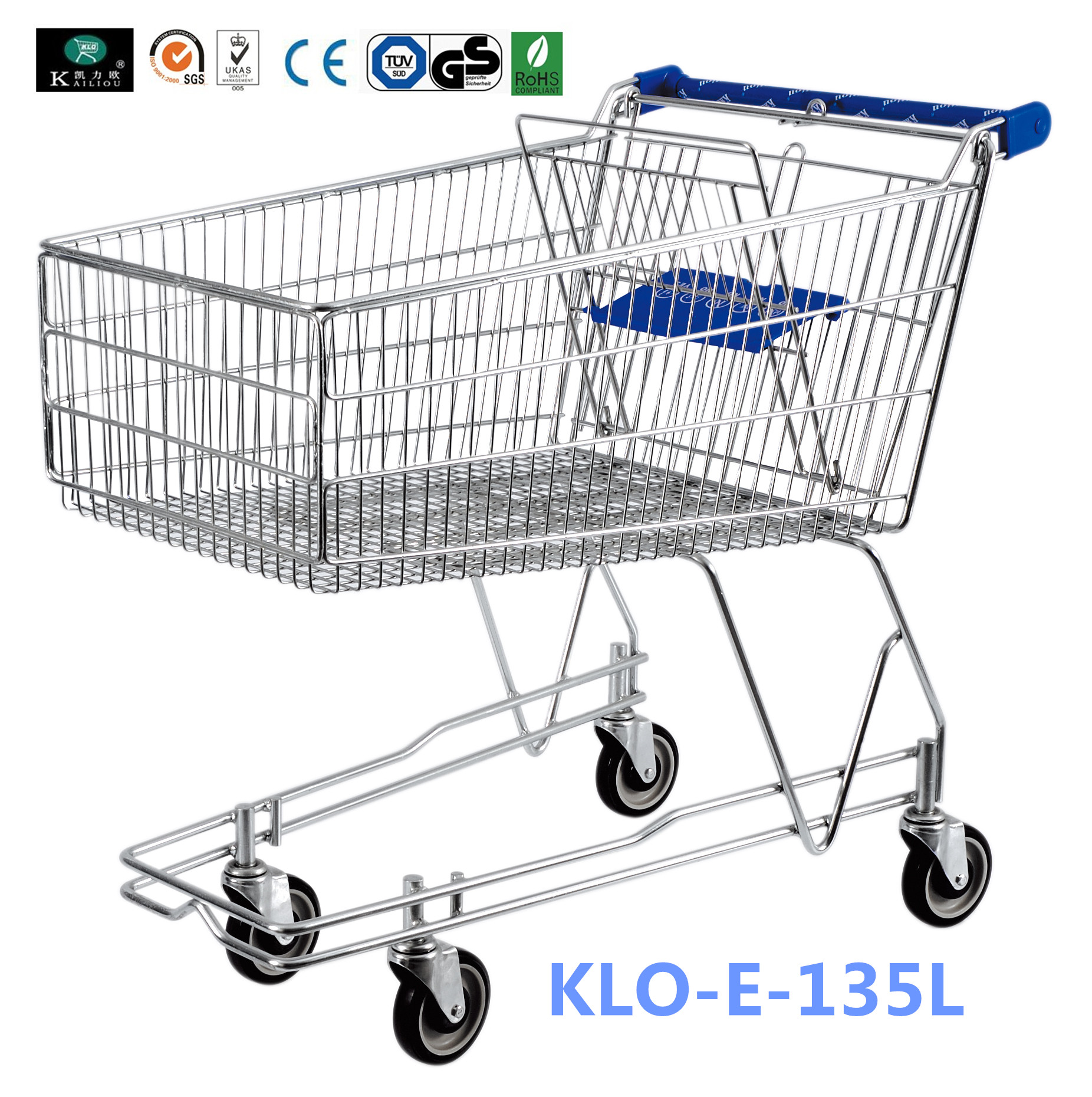 4 Wheeled 135L Metal Wire UK Shopping Cart With Baby Seat / Supermarket Equipment