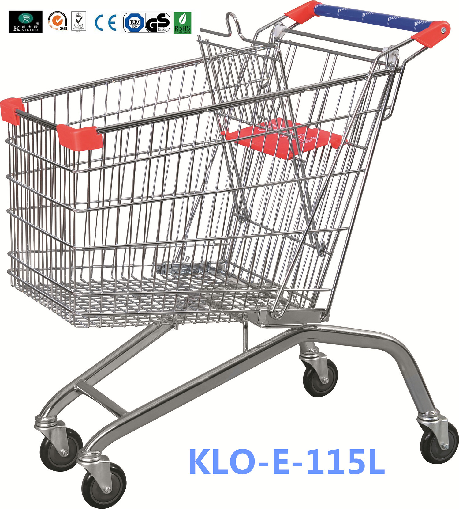 Large Heavy Duty Supermarket UK Shopping Cart 115L With 4x4 Inch Swivel PU Wheel
