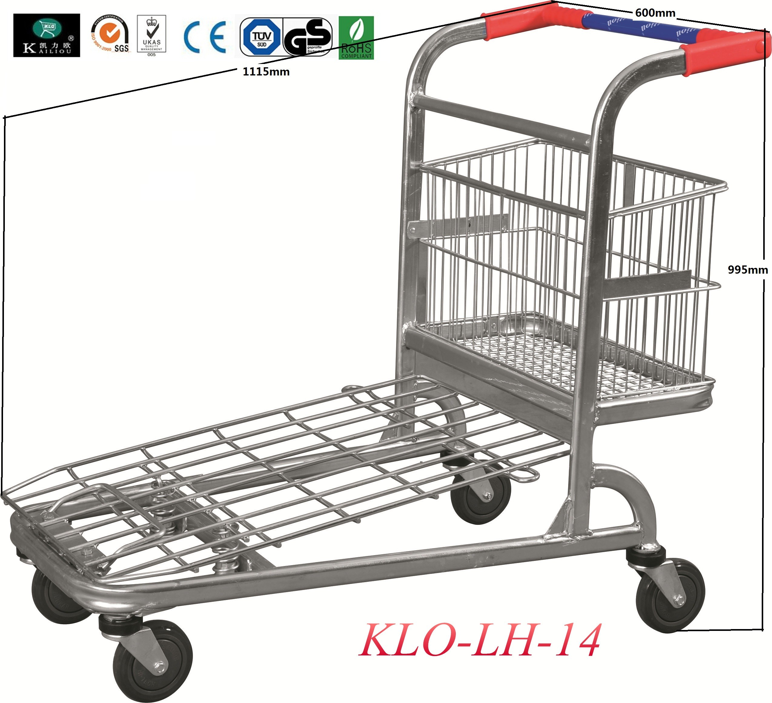Chrome Plating Folding Warehouse Trolley With Four Wheels 1115x604x995mm