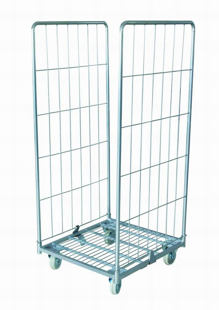 Movable Retail Shop Equipment Steel Wire Mesh Storage Cage With Wheels