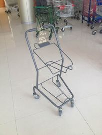 China Colorful Steel Shopping Basket Trolley With PVC / PU / TPR Wheel factory