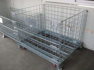China 4 Sided Grocery Store Wire Mesh storage warehouse Container with four casters factory