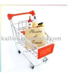 China Small Supermarket Shopping Trolley with advertisement board in red and metal base in chrome factory