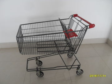 135L Metal Wire UK Shopping Cart With 4x5inch swivel flat TPE black casters