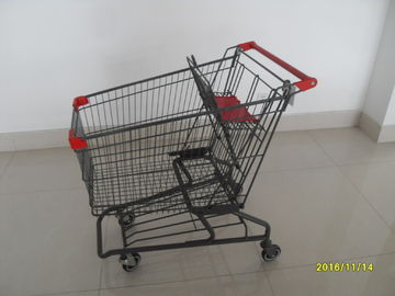 China Durable Grocery Shopping cart trolley With welded low tray and 4x4inch swivel lfat casters factory