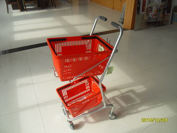 China Small Shop Use Shopping Basket Trolley With 4 Swivel 3 Inch PVC Casters factory