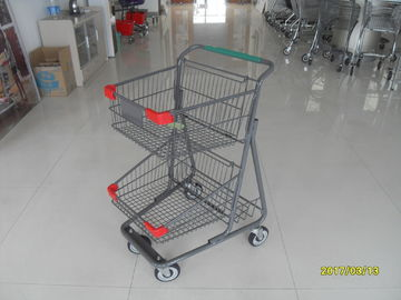 China Two Layer Basket Wire 4 Wheel Shopping Trolley / Cart With Color Poweder Coating factory