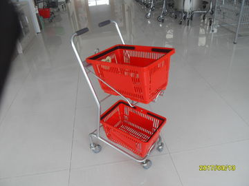 China Supermarket Steel Wheeled Shopping Basket With 3 inch PVC / PU / TPR Wheel factory