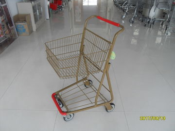 China Supermarket 40 L Singel Basket Metal Shopping Cart With Wheels And Front Bumper factory