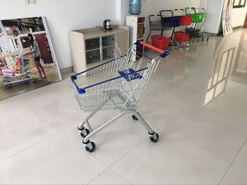 80L PPG powder Steel Supermarket Metal Shopping Cart With Wheels 823x525x974mm