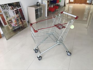 125L PPG powder Steel grocery shopping cart with 4 wheels , supermarket shopping trolley