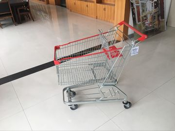 100L Low Tray Supermarket European Steel Shopping Trolley With colorful coating