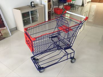 Asian Style Wire Shopping Carts 150L with 4 swivel casters for supermarket