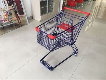 75L PPG powder Steel Wire Shopping Trolley / zinc plated wire shopping cart