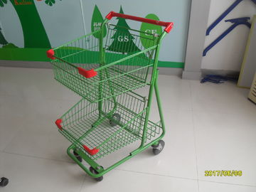 China Two Basket Grocery Shopping Trolley Wire Shopping Cart 656x521x1012mm factory
