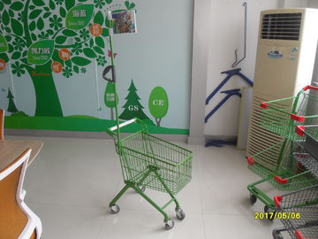 33 Liter Green Q195 Steel Kids Shopping Carts With Metal Flag Pole