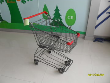 45L Supermarket Wire Shopping Trolley / Metal Shopping Cart With Front Bumpers