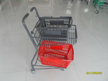 Two Tier Flat Wheel Airport Shopping Basket Trolley 50L CE / GS / ROSH