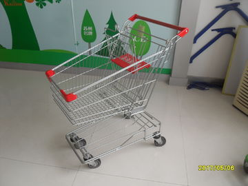 Red 80L 4 Wheel Wire Shopping Trolley With Zinc Plated Clear Coating