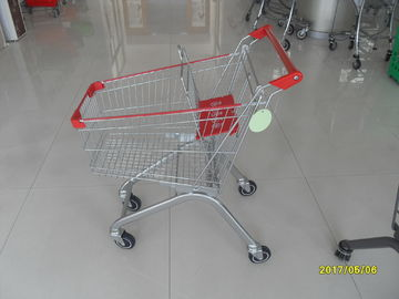 Zinc Plating Steel Supermarket Shopping Carts 60L With 4 Swivel PU Casters