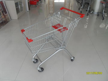 100L Grocery / Supermarket Shopping Carts With Clear Powder Coating
