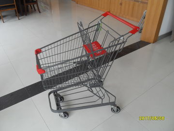 Red Plastic 60L Supermarket Shopping Carts With ROHS / UKAS Standard