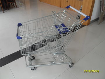 Zinc Plating Q195 Low Carbon Steel 100L Supermarket Shopping Cart With Baby Seat