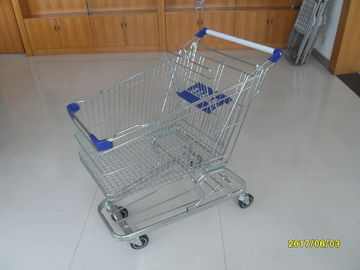 100L Low Tray Supermarket European Steel Shopping Trolley With anti UV plastic parts