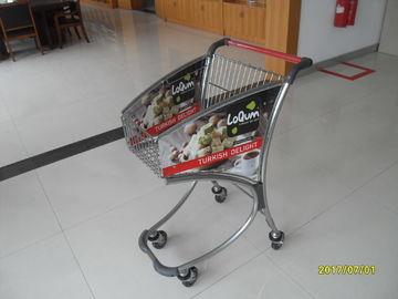 Small Anti Theft 40L Steel Tube Supermarket Shopping Trolley / Airport Shopping Trolley