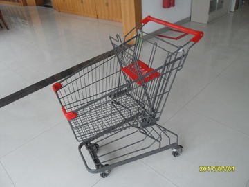 Zinc Plated Low Carbon Steel 80L Supermarket Shopping Trolley With Bottom Tray