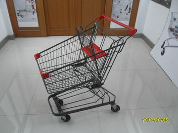 Grey Powder Coating 80L Supermarket Shopping Trolley With 4 Inch PU Casters