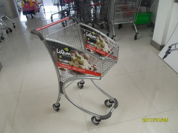 40L Steel Tube Supermarket Shopping Trolley / Airport Shopping Trolley with advertisement board