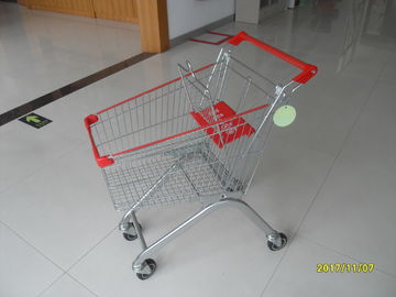 60L Personal Metal Shopping Trolley With Red Plastic Parts For Small Shop / Hypermarket