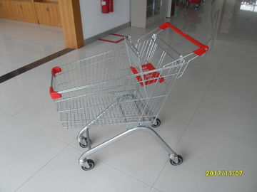 Heavy Duty Big 100 Liter Supermarket Rolling Shopping Cart For Food