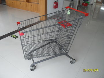 European 270L Grocery Store Cart With Safety Baby Seat / Escalator Wheel